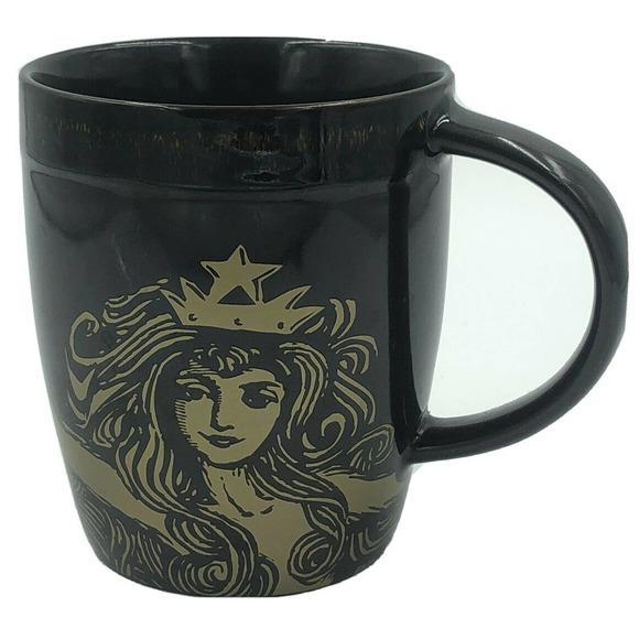 Starbucks Siren Mermaid Tail Coffee Mug Brown Gold 2012 Anniversary Bone China